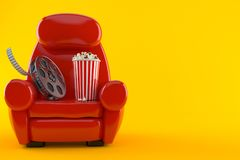 Armchair with popcorn and film reel. Isolated on orange background. 3d illustration Stock Photos