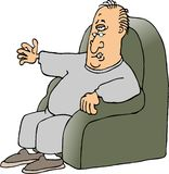 Armchair quarterback. His illustration that I created depicts an old man sitting in a chair Royalty Free Stock Photo