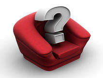 Armchair with question. Vacancy. 3d Stock Photography