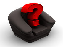 Armchair with question. Vacancy. 3d Very beautiful three-dimensional illustration, figure royalty free illustration