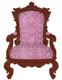 Armchair - realistic 3d chair illustration. A isolated wooden structure of an royal antique armchair with  highly ornate damask patternnnArmchair -  illustration Royalty Free Stock Images
