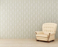 Armchair in a room. Lonely light armchair in a room Stock Photography
