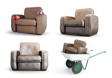Armchair set on a white background. 3D illustration Royalty Free Stock Photography
