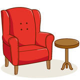 Armchair and side table. Illustration of a red armchair and a side table on white background, isolated Stock Images