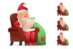 Armchair Sit Christmas Santa Claus Pleased Happy Satisfied Gift Bag Cartoon Tired Sad Weary Character Design Isolated. Armchair Sit Christmas Santa Claus Pleased Stock Image