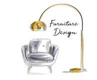 Armchair sketch. hand drawn chair. vector furniture illustration. mid century modern interior design. Floor lamp royalty free illustration