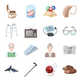 Armchair, slippers, tonometer and other attributes of old age.Old age set collection icons in cartoon style vector Stock Photography