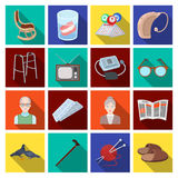 Armchair, slippers, tonometer and other attributes of old age.Old age set collection icons in flat style vector symbol Royalty Free Stock Photos