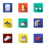 Armchair, slippers, tonometer and other attributes of old age.Old age set collection icons in flat style vector symbol Stock Photo