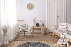 Armchair and sofa with patterned pillows in white flat interior with plants and round rug. Real photo stock image