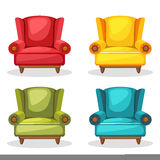 Armchair soft colorful homemade, set 2 Royalty Free Stock Image