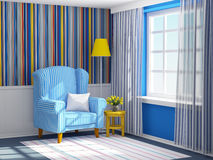 Armchair in striped blue interior Stock Photography