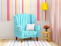 Armchair in striped cream interior Stock Photos