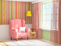 Armchair in striped green interior. Vintage striped interior with armchair and lamp. 3d illustration Royalty Free Stock Photos
