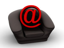 Armchair with symbol for internet Royalty Free Stock Photo