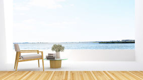 Armchair on terrace and lake view in hotel - 3D Rendering Royalty Free Stock Photos