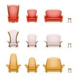 Armchair throne sofa couch chair fairytale cartoon 3d isolated retro vintage icons set vector illustration. Armchair throne sofa couch chair fairytale cartoon 3d Stock Photo