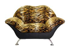 Armchair with tiger fur. Isolated on white background Royalty Free Stock Image
