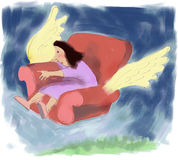 Armchair traveller. Woman in armchair flying through sky Stock Photography