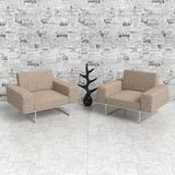 Armchair. Two comfortable chairs facing each other, arranged for convenient communication. The floor on white background newspaper and wallpaper Stock Image