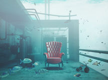 Armchair underwater Royalty Free Stock Images