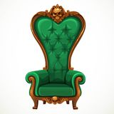 Armchair upholstered in green and high-backed baroque Royalty Free Stock Images
