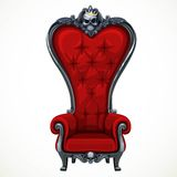 Armchair upholstered in red and high-backed baroque Stock Photo