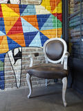 Armchair white wood brown leather in colorful room. / thailand Stock Photography