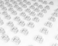 Armchairs. Armchair field 3d, horizontal, over white, isolated Stock Images