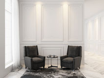 Free Armchairs And Coffee Table In Classic White Interior. Interior Mock Up. Royalty Free Stock Photography - 93024787