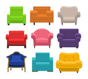Armchairs collection in flat style. Stock Photos