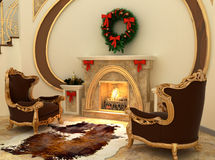 Armchairs by fireplace with Christmas-tree. Decorations in comfortable interior Royalty Free Stock Image