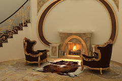Armchairs by fireplace in modern interior Stock Images