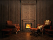 Armchairs and fireplace Stock Image