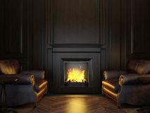 Armchairs and fireplace Stock Photography