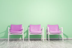 Armchairs green wall. 3d rendering of a three armchairs green wall and space for your content Stock Photos
