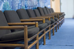 Armchairs in the lobby. Of the cinema and theater hall royalty free stock photo