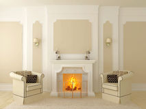 Armchairs near the fireplace. Classic interior in beige tones, the central part of which has a fireplace Royalty Free Stock Photography