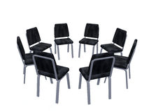 Armchairs placed on a circle Stock Photo