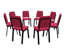 Armchairs placed on a circle Stock Image