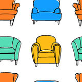 Armchairs seamless pattern Stock Photography