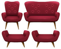 Armchairs and sofa in red Stock Photo