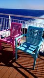 Armchairs at sundeck of a ship stock image