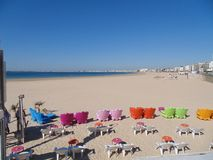 Armchairs and tables on the beach of Pornichet stock photo