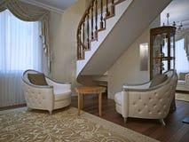 Armchais de linho cinzentos resistidos do algodão na sala de estar Imagem de Stock Royalty Free