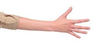 armcloseup fem hand framställning av nummertecknet Arkivfoto