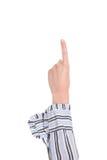 armcloseuphand som gör nummer ett tecken Arkivbilder