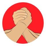 Armdrücken übergibt ringsum Ikone Auch im corel abgehobenen Betrag Lizenzfreie Stockfotos