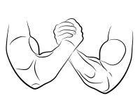Armdrücken übergibt Vektorillustration Stockbilder
