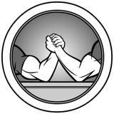 Armdrücken-Ikonen-Illustration Stockfoto